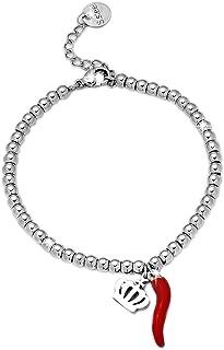 Beloved Bracciale da donna, braccialetto in acciaio con cornetto e sfere in acciaio - chiusura a moschettone - lunghezza r...