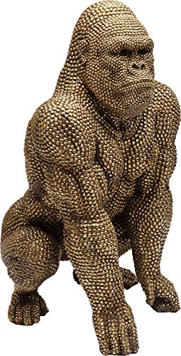 Kare Design Deko Figur Gorilla Gold 80cm, Deko Affe, Gold Affe
