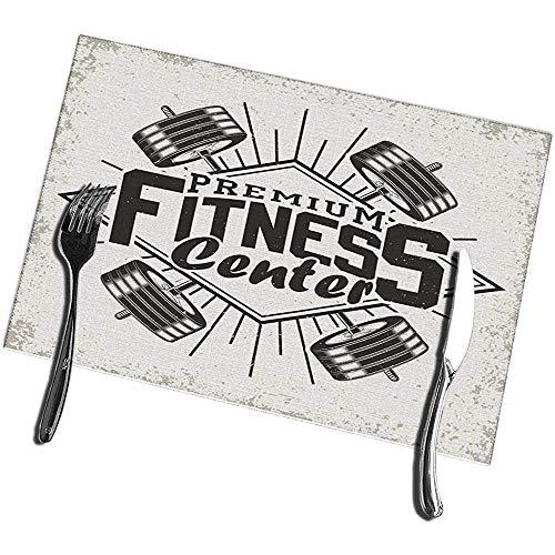 sunnee-shop Tischsets für Esstisch 4er Set Vintage Grange Stempel Fitness Emblem Gym Sport Logo