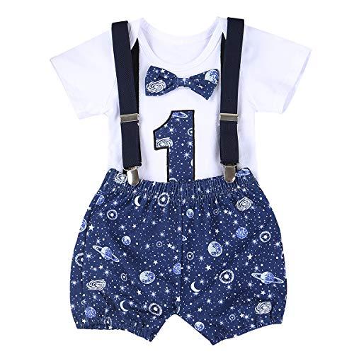 iixpin Baby Jungen Geburtstag 1 Jahr Kleidung Set Taufe Kleidung Stramper Kurzarm Overall mit Fliege Shorts Hosenträger Anzug Outfits Babybekleidung Weiß 80-86/12-18 Monate