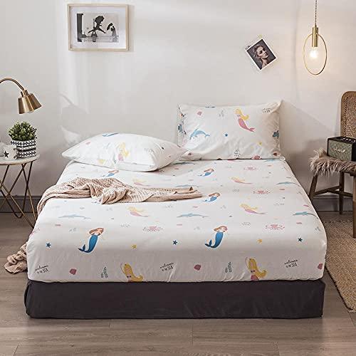 XGguo Protector de colchón Acolchado - Microfibra - Transpirable - Funda para colchon estira hasta Sábana Estampada de una Sola Pieza de algodón-34_180 * 200 + 25cm