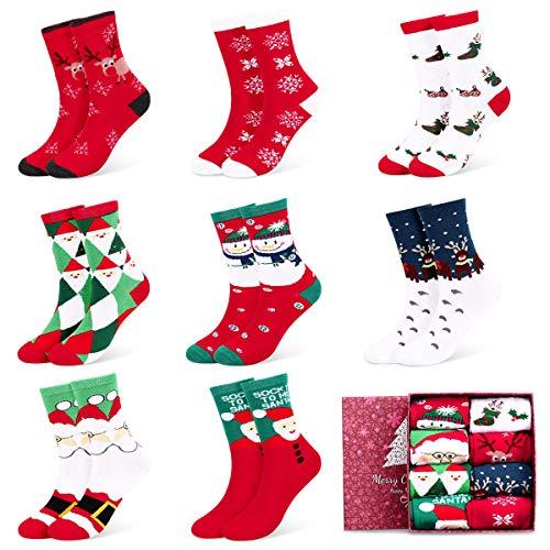 Fixget Calcetines de Navidad, 8 Pares Navidad de invierno