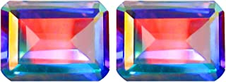 3.74 ct (2pcs) MATCHING PAIR Octagon Shape (8 x 6 mm) Mercury Mystic Topaz Natural Gemstone