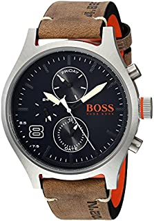 HUGO BOSS Men's Amsterdam Stainless Steel Quartz Watch with Leather Calfskin Strap, Grey, 22 (Model: 1550021)