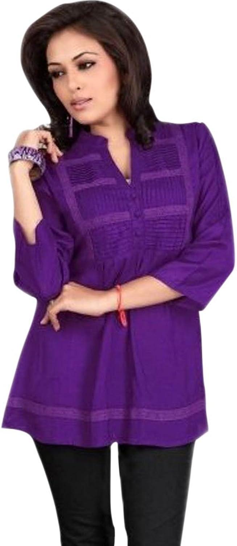 1545 Designs Women's Petite Size purple color Cotton Tunic Top Dress