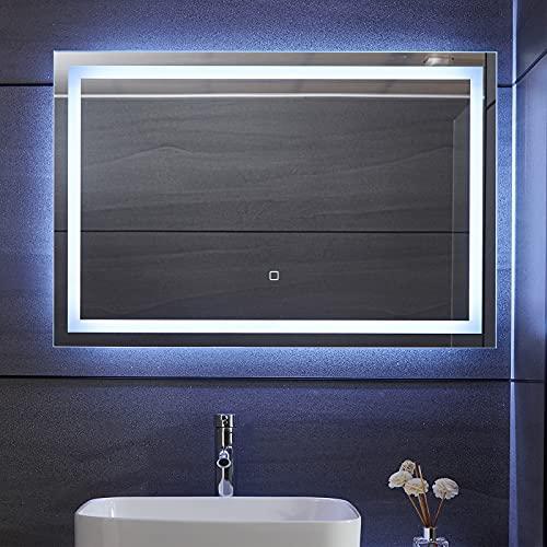 Aquamarin® Miroir de Salle de Bain LED - 120 x 80 cm, CEE: A++, Tactile, Mural, 3 en 1 Éclairage Blanc Froid/Chaud/Neutre, Anti-Buée - Miroir Lumineux, Cosmétique, de Maquillage (90 x 60 cm)