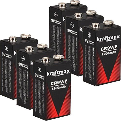 kraftmax 6X 9V Block Lithium Hochleistungs- Batterien für Rauchmelder/Feuermelder - 10 Jahre Batterie Lebensdauer