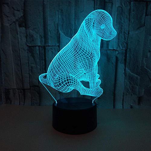 Perro Animal 3D Luz Nocturna, LáMpara De Escritorio De Mesa TáCtil, Con Control USB 16 Colores LED Luz Nocturna Para NiñOs DecoracióN De La Sala De Regalo De Vacaciones NiñOs Y NiñAs