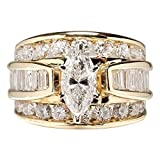 Plated Micro Pave Hand Ring Zircon Ring Cubic Zirconia Promise Halo Engagement Wedding Band Ring for Women (Gold, 9)