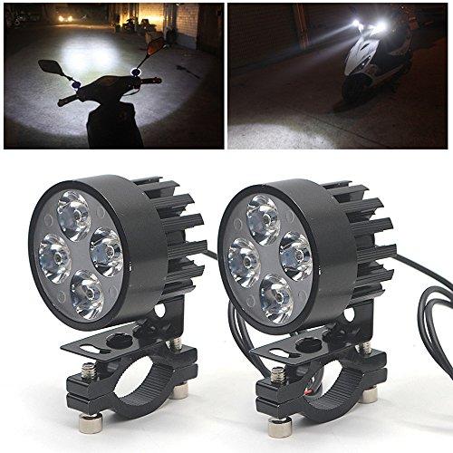 ebuybox® 2x Universal Motorrad Scheinwerfer Flutlicht Nebel Licht 4 LED Lampe Lichter 12V-85V