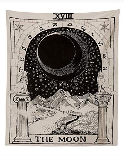 Rcbmn Tarotkarte Tapisserie Tarot-Wandteppich Der Mond Mittelalter Europa Divination Tapisserie Geheimnisvolle Wandteppich Heimdekoration(150x130cm)