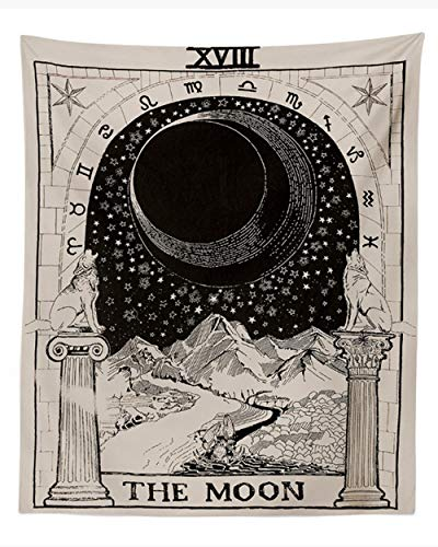 Rcbmn Tarot Wall Tapestry The Moon The Star and Sun Tapestry Medieval Europe Divination Tapestry Wall Hanging Decorations Mysterious for Bedroom Home Decor