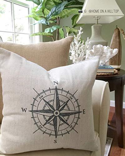 Toll2452 Kompass-Kissenbezug, nautisches Design, Landhaus-Kissen, Strand, Landhaus-Dekoration