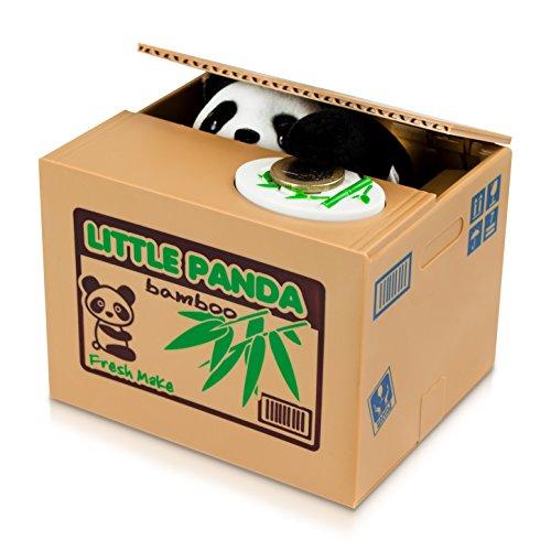 Grinscard Spardose Gemüsekiste mit Bär - Braun Rich Panda Design - Gadget Elektro Sparbüchse als Geschenkidee