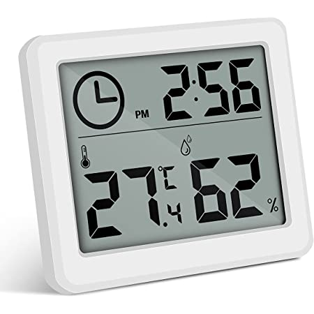 moinkerin Higrometro Digital Termometro Humedad Termometros Higrometros para el Hogar, la Oficina, el Ddormitorio, la Habitación del Bebé, etc. (Blanco)