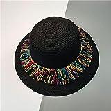NJJX Visera con Flecos De Caramelo A La Moda Sombrero para El Sol De Playa De Verano Sombrero De Panamá Jazz con Flecos Gorras De Fiesta para Mujer 4