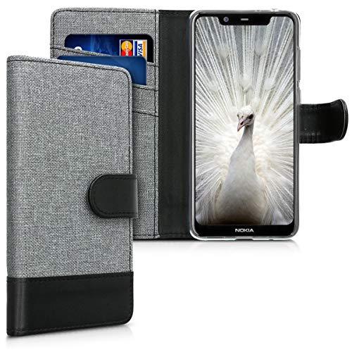 kwmobile Nokia 5.1 Plus (2018) / X5 Custodia Portafoglio - Cover Porta Carte Tessuto Simil Pelle Stand per Nokia 5.1 Plus (2018) / X5 - Case Magnetica