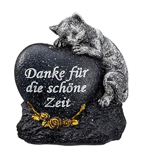 Fachhandel Plus Grabdeko für Hund oder Katze mit Herz Spruch und Rosen Grabschmuck Gedenkstein, Motiv:Katze