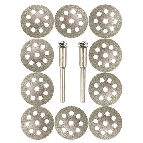 Abrasivo, 10pcs 22mm Hoja de Sierra recubierta de Diamante de 22 mm 9 Orificios cortando Discos con 2pcs Mandrel Fit para Dremel
