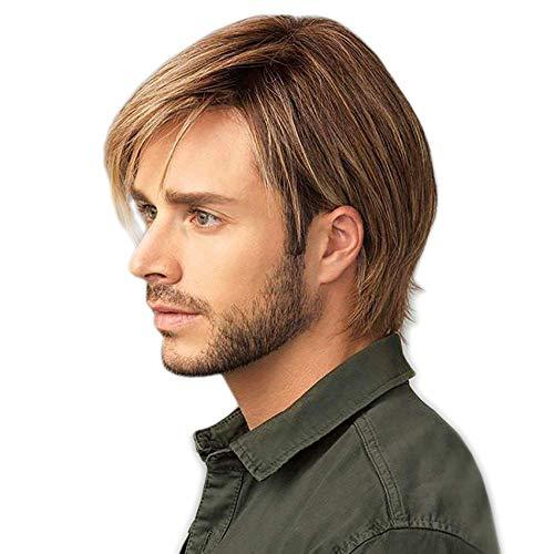 STfantasy Peluca de hombre Blonde Marrón Natural corto recta capas dos tonos Mixta Wig de pelo para uso diario Carnaval Disfraz Fiesta Halloween
