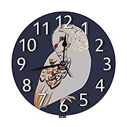 SSOIU Barn Owl Wall Clock,Night Bird Animal Cartoon Doodle Sketch Brown Black Nature Forest Isolated Silent Non-Ticking Round Wall Clock Battery Operated for Home Office Decorative Clock Art