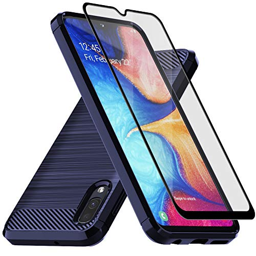 Muokctm Samsung Galaxy A10E Case, with Tempered Glass Screen Protector, Slim Soft TPU Protective Rubber Bumper Case Cover for Samsung Galaxy A10E Phone (Blue)
