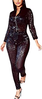 Women Sexy Sparkly Sequin Long Sleeve Party Clubwear Romper Jumpsuit
