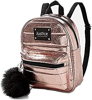 Justice Rose Gold Quilted Mini Backpack