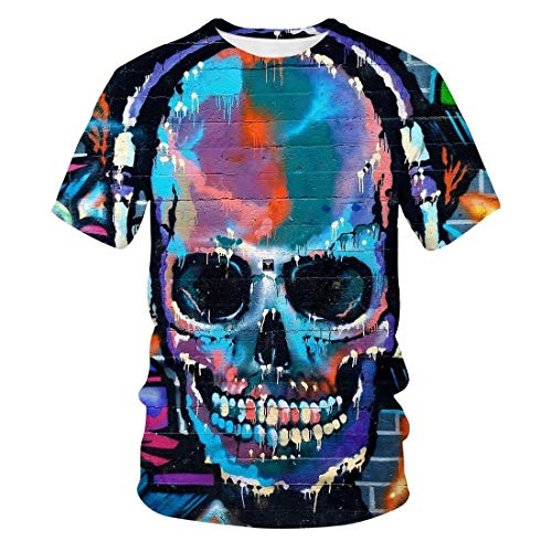 Spring and Summer Skull 3D Printing Casual Trend Fashion Short-Sleeved T-Shirt Men and Women