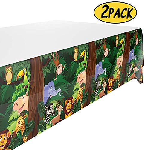 Animals Tablecloth for Zoo Jungle Safari Party Supplies , Animals Tablecover for Kids Animals Theme Birthday Party(2PACK)