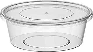 Microwavable Food Container Clear Round + LID - 250ml - (SAUCE/HUMMUS/SOUP/SWEETS/SALAD/FRUITS/NUTS) (150)