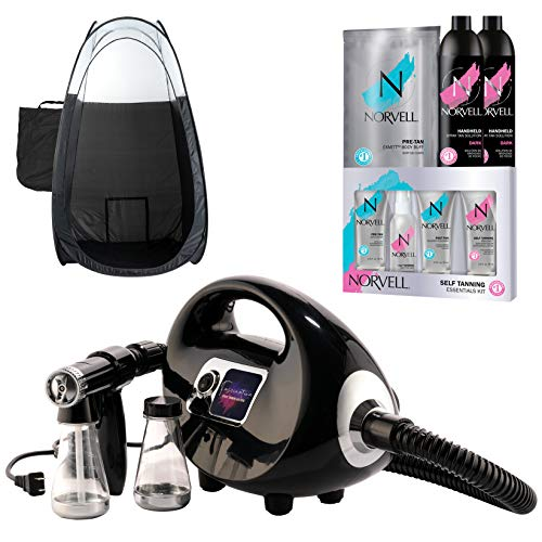 Black Fascination Spray Tan Machine and Norvell Sunless Airbrush Tanning Solution Bundle with...