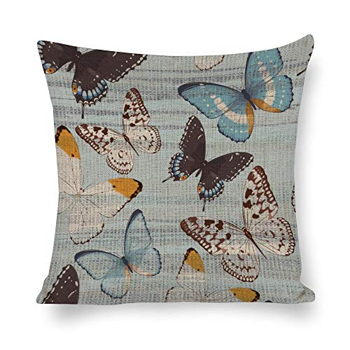 Tiukiu 24 X 24 Inch Cotton Linen Square Throw Pillow Cases Cushion Covers, Bed Sofa Couch Car Home Decor, Butterfly Pattern