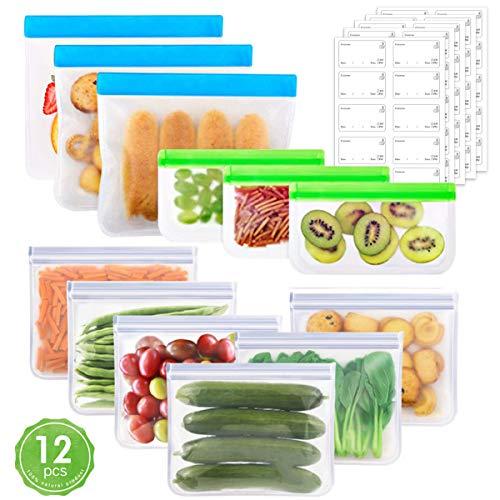 OrgaWise Lebensmittel Beutel Koch Beutel Küche Beutel Food Grade Vielseitige Konservierung Tasche für Wiederverwendbare für Obst Gemüse Milch Snack Bags Food Storage Bags(12pcs, wiederverwendbar)