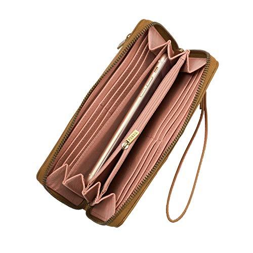 Fossil Logan RFID Zip Clutch Wallet, Tan/Pink