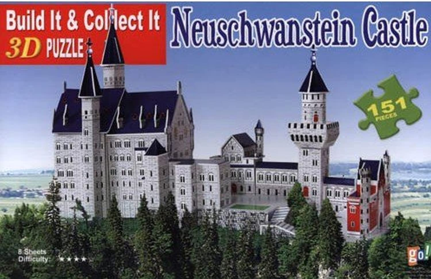 Neuschwanstein Castle 3-D Puzzle 151 Pieces Numbered Puzzle (size 17.7  x 7.1  x 11 )