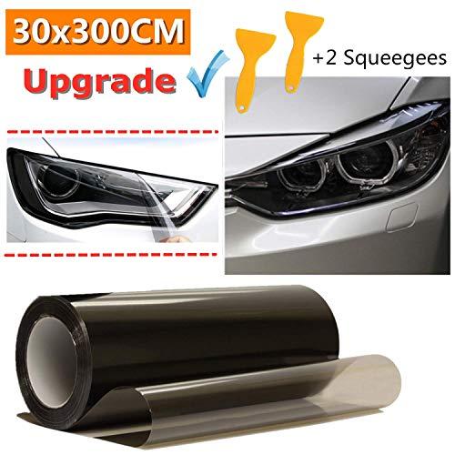Mioke Auto Scheinwerfer Folie,300c*30cm Tönungsfolie Aufkleber cheinwerfer Nebelscheinwerfer Rücklicht Vinyl Farbe Zubehör (Schwarz)