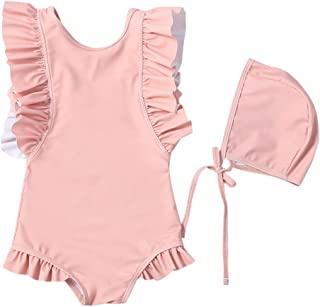Zrom Swimsuit for Girls,0-5 Years Baby Kids Girls Ruffle Solid Color One Piece Swimsuit And Hat Swimwear Set