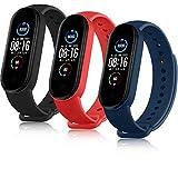 AYOU Correa para Xiaomi Mi Band 5 Correa, Relojes Repuesto Pulsera de Silicona (No Compatible Mi Band 4) (Negro/Rojo/Azul)