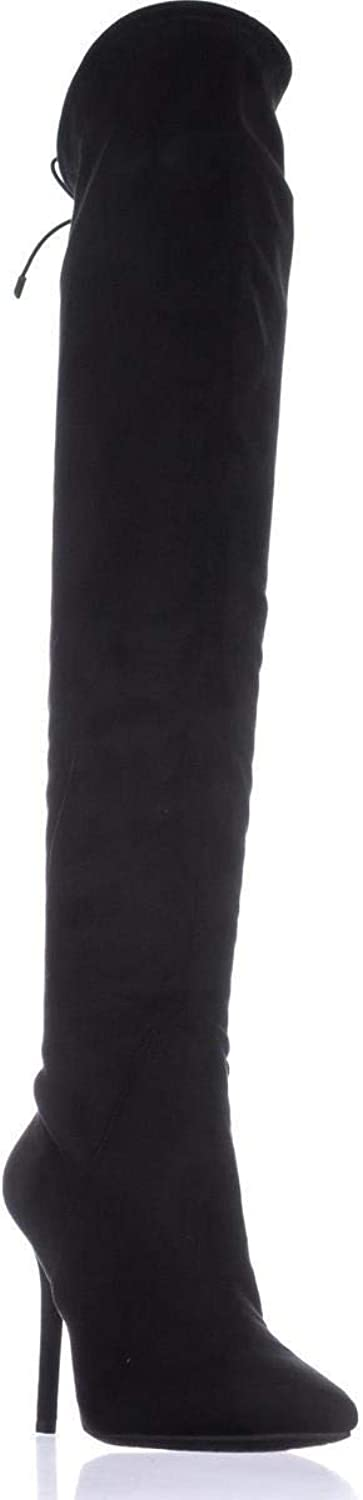 Jessica Simpson Womens Lessy Fabric Pointed Toe Over Knee, Black, Size 7.0