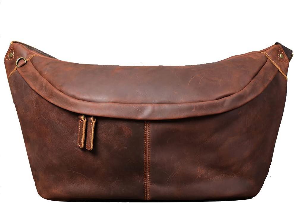 Large Sling Bag For Men Full Grain Leather Sling Crossbody Bag Casual