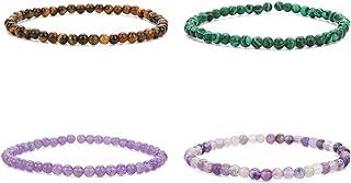 4MM Mini Gemstone Energy Bracelets Tiny Bracelet Natural Stone Statement Bracelet Charm Beaded Couples Bracelets