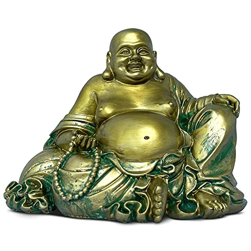 "Laughing Buddha Statue for Home – 6.5"" Inches High - Handmade, Antique Gold Style - Happy, Smiling Buddha Figurine for Feng Shui Good Luck, Wealth and Happiness – Essence of Joy"