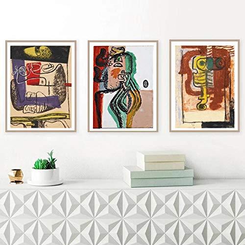 woplmh Le Corbusier Artwork Canvas Print Vintage Cubism Art Poster Le Corbusier Cubist Painting Reproducciones Imagen Decoración para Sala de Estar / 50x70cmx3Pcs-Sin Marco