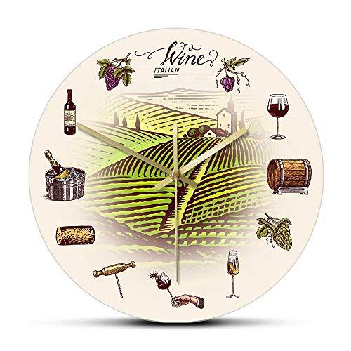 UVA Barril de Vino Bottel Glass Vineyard Reloj de Pared Retro Hillside Winery Décor Cocina Relojes Reloj de Pared Bebedores de Vino Gift-Frameless_Simple_Design