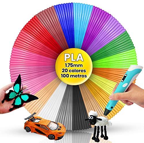 Filamento Pluma 3D PLA, 20 Colores, 5 Metros por Color, Filamentos Lápiz 3D, Filamento PLA Lápiz 3D, filamento pluma 3d, filamento pla 1.75mm 100 metros pluma 3D, hilo bolígrafo 3d