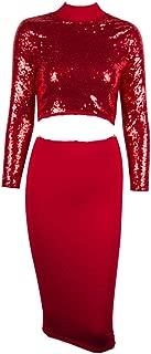 Women Long Sleeve Sexy Red Sequin Split Bodycon Clubwear Party Midi Dress