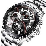LIGE Relojes para Hombres Reloj analógico de Cuarzo Resistente al Agua Múltiples Funciones Adultos Reloj Deportivo Cronógrafo (2)