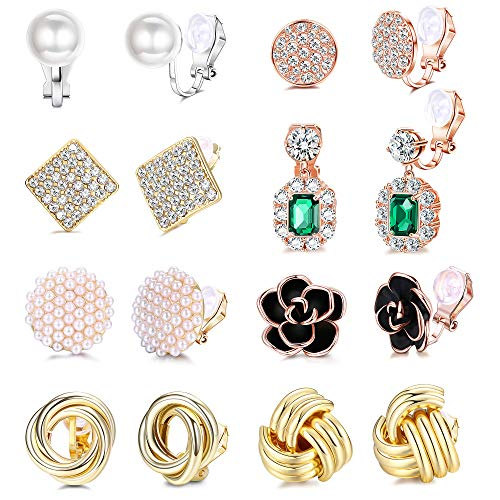 LOLIAS 8 Pairs Clip Earrings Sets for Women Rose Flower CZ Simulated Pearl Twist Gold Knot Clip Earrings with Rubber Pads Non Pierced Clip On Earrings Jewelry