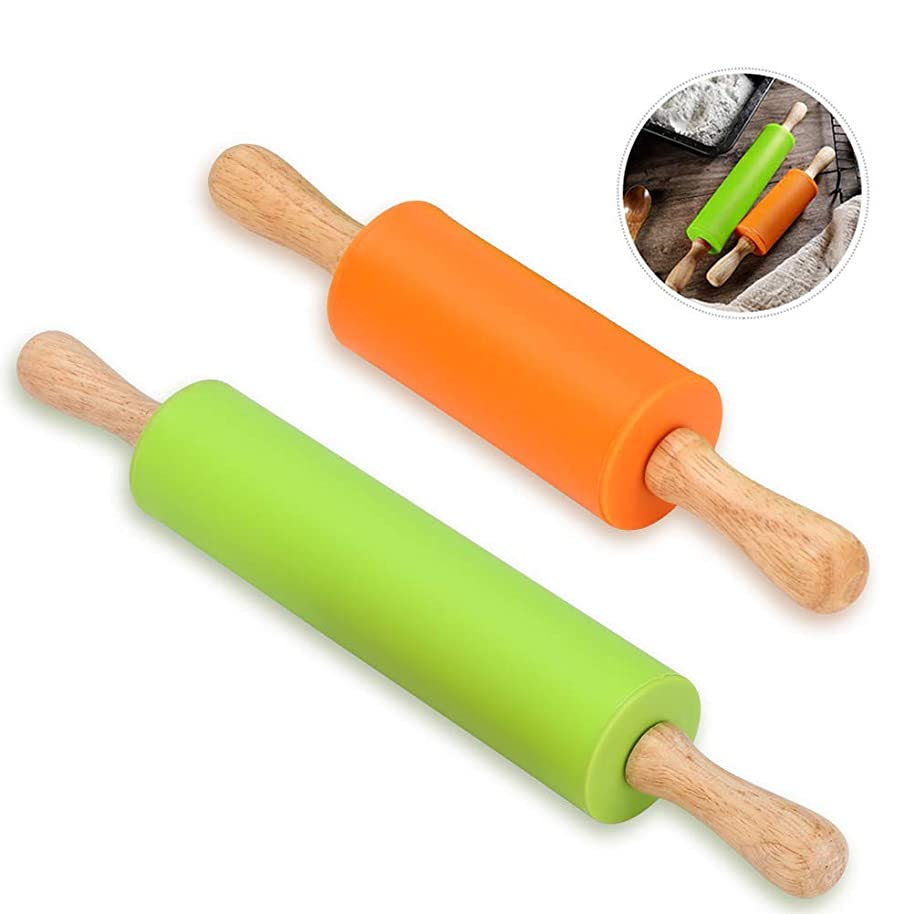 Silicone Rolling Pin - Dough Roller for Pizza, Cookie with Wooden Handle & Nonstick Surface - 2 Pack Rolling Pins for Baking (Mini & Large Size)